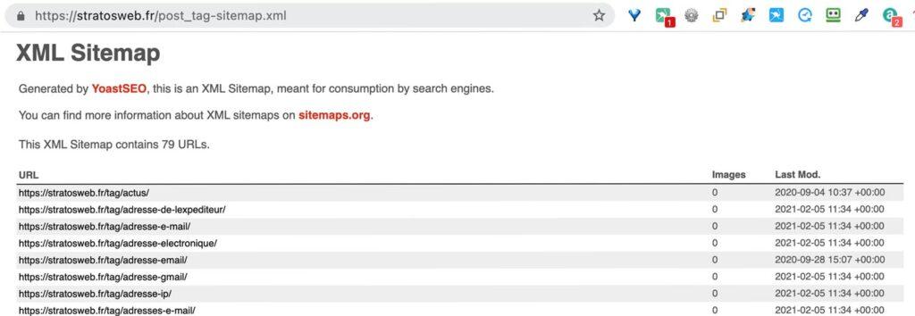 le sitemap des tags et etiquettes d'articles